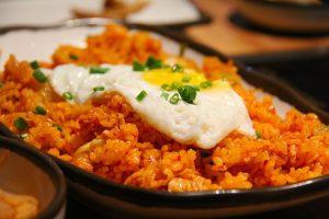 Vulkan Reismischung mit Kimchi und Ei
